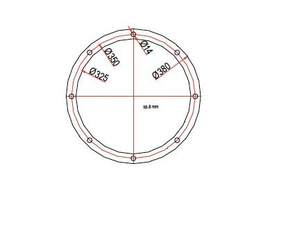 brida para boca circular DN323